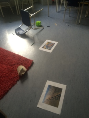 Classroom items on the floor